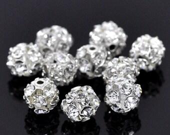5 Pcs Silver Toned Filigree Rhinestone Balls 6-7mm Dia  Bracelet Necklace ref 00043
