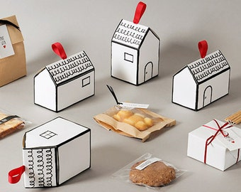 5 gift boxes, favor boxes, cookie box, party favor, house shape box, white box, cute gift box, unique gift box, unique favor box,wedding