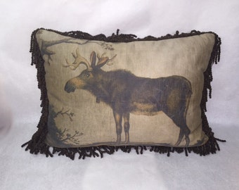 Hand Painted Moose Pillow
