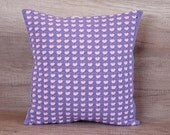 Cute colorful hearts motive in pastel lilac pink crochet cotton handmade decorative pillow case 16 x 16 (40 x 40 cm)
