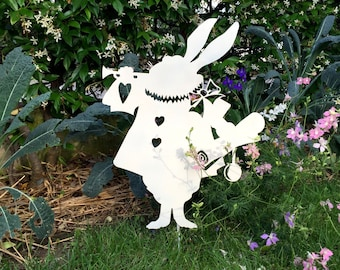 White Rabbit-metal silhouette-metal garden art-alice in the wonderland-white rabbit-alice in wonderland rabbit