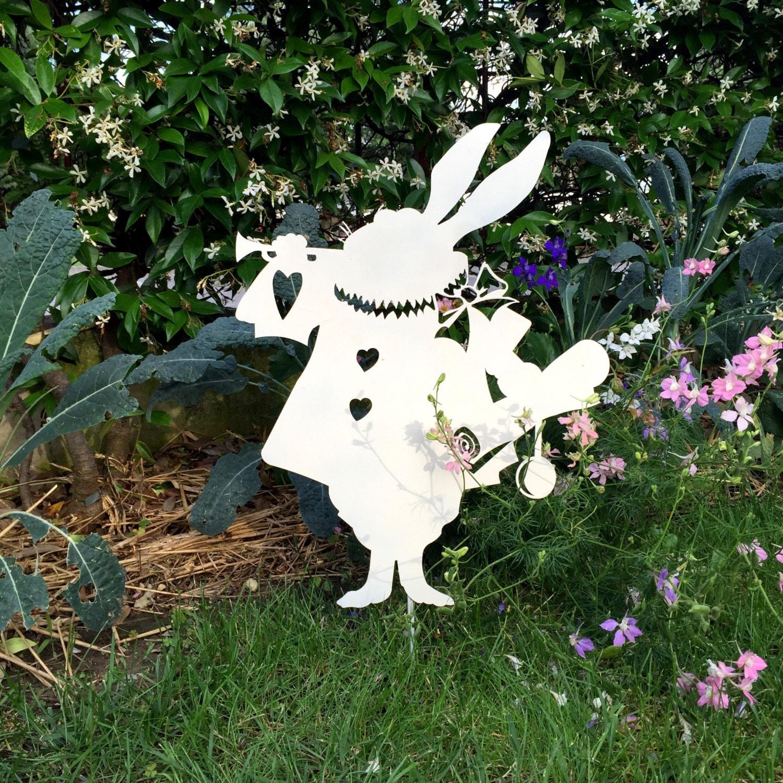 Fairy garden ornaments - White Rabbit Metal Silhouette Metal Garden Art Alice In Wonderland White Rabbit