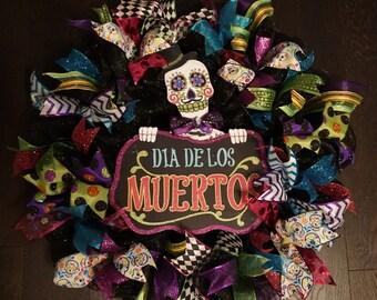 Day of the Dead Wreath, Dia de Los Muertos Wreath, Skeleton Wreath, Skeleton Door Hanger, Day of the Dead Door Hanger, Dia De Muert