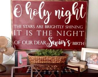 O holy night   3'x2'   handmade sign   Christmas sign   custom sign