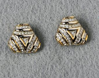 Gold & Stone Triangle Studs
