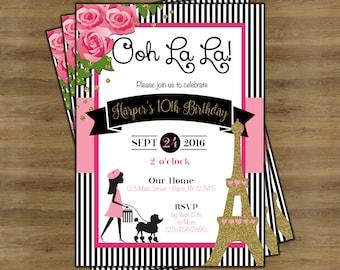 Paris Invitation; Paris Theme Party; Paris Themed Invitations; Paris Party; Paris Birthday Invitation; Eiffel Tower Invitations