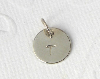 Hand stamped pendant request letter 925 Silver