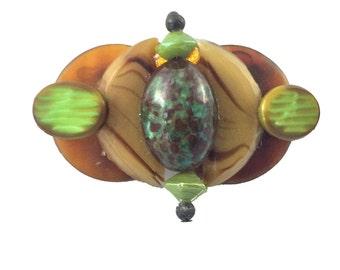 Green and Brown Rare Bakelite Pin Brooch 1930s
