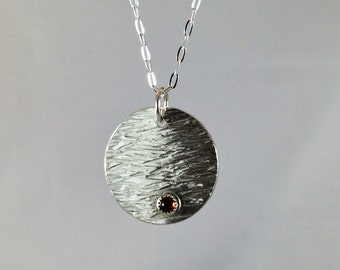 Sterling silver disc pendant with turquoise, onyx or garnet stone