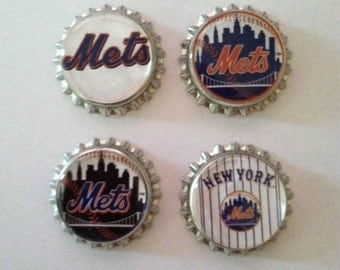 NY Mets Bottle Cap Magnets - Set of 4
