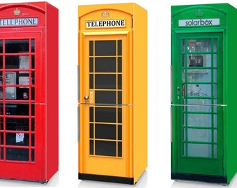 Fridge Vinyl Sticker *Red Phone Booth**Yellow Phone Booth**Green Phone Booth*/Self-Adhesive Vinyl Refrigerator Decal
