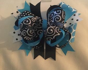 Blue and black print hair bow