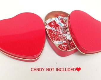 18 Red Heart Shape Tins Empty Party Event Favors