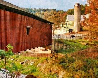 Covered Bridge, Jackson's Sawmill, Bridges of Lancaster County, Historic Bridges, Pennsylvania, Fall Landscape, Wall Art,  Canvas Available