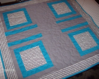 Teal and Music Note Quilted Throw