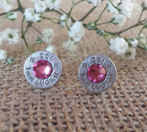 Rose 9mm CCI Bullet Stud Earrings