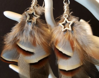 Brown & Grey Feathers Stars - Bohemian - feathers - stars - softness - romantic - Valentine's day earrings