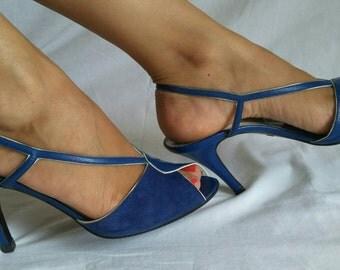 Vintage slingback peep toe Bi-material Royal blue