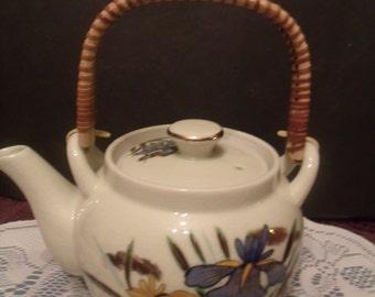 Vintage Teapot - Japan - Wicker Handle (#514/23)