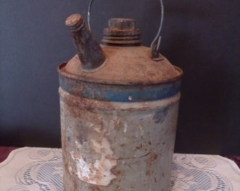 Vintage Tin Gas Can with Wood Handle, (# 697/wb)