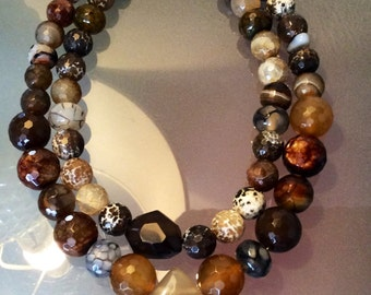 Double layer agate necklace
