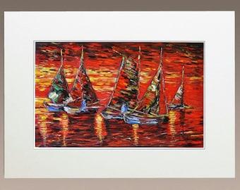 Art Prints - Sailing Boats at Sunset