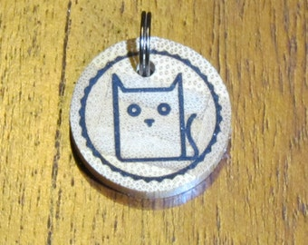 Personalised Cat Bamboo Tag - Cat Tag - Pet Tag - Dog Tag