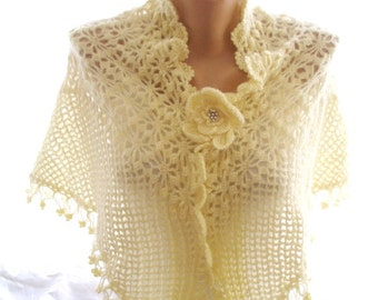 crochet shawl, lace shawl, ivory shawl, handmade shawl, bridal cover up, wedding shawl, bridesmaid shawl, bridal shawl