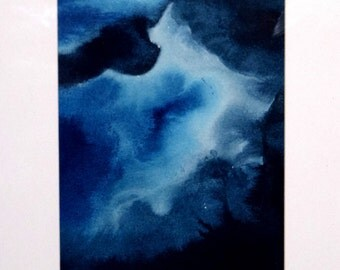 Original abstract watercolour painting on paper framed