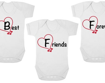 Triplet baby shower etsy bff best friends forever new triplets baby bodysuitsbaby grows onesiesvests negle Images