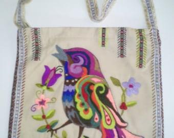 Beautiful Handmade Big Bag With FeltingBird and Flowers