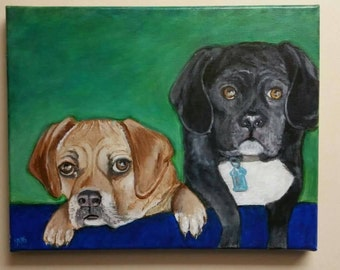 Pet Portrait - 8x10 acrylic painting of single pet on canvas; larger sizes with additional pets also available for additional cost.