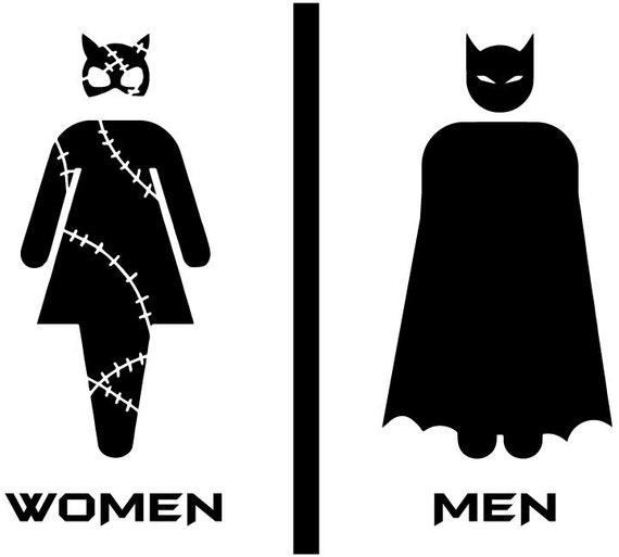 Items Similar To Bathroom Batman And Cat Woman Door Vinyl