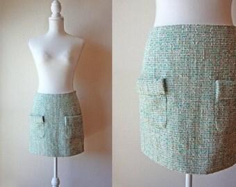 Japanese Vintage Skirt / Vintage 1960's Skirt / Pastel Mint Green Tweed Skirt