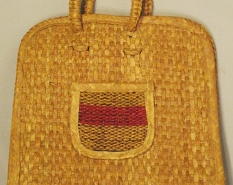 Vintage Woven Straw Handled Bag