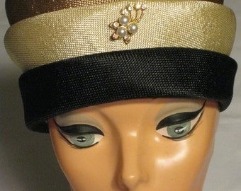 1960s Three Tiered Woven Pillbox Hat