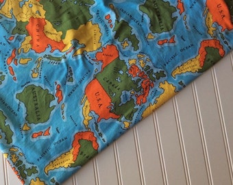 Interlock-Knit-Cotton-World-Map-Fabric-By-The-Yard-Aqua-Blue-Orange-Yellow-Green-Kaufman-Fashion-Apparel -Sewing-DIY-Crafts-Supplies