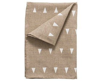 Jodhpur linen tea-towel, isla white on natural