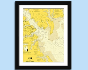 Annapolis MD - Naval Academy - Nautical Chart Decor