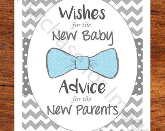 Baby Shower Advice Book - Printable Sign - Bow Tie - Boy