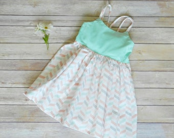 Mint pink gray chevron dress - knee length with elastic back and straps - handmade custom clothing - birthday party dress