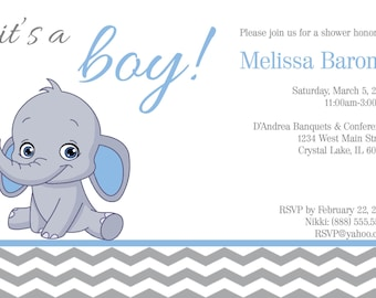 DIGITAL* Pink or Blue Chevron Elephant Themed Baby Shower Invitation