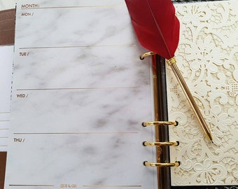 A5 (GM) Large size ROSE GOLD foil and Marble Week on two pages WO2P planner inserts | Refills for Kikki k, Filofax and Louis Vuitton agenda