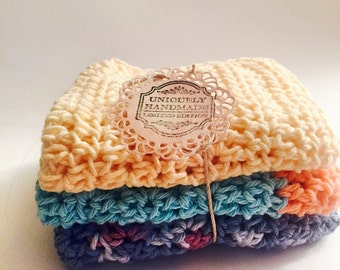 Large Crochet Dishcloths / Washcloths / 100% cotton