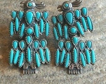 Vintage Costume Silver Tone Faux Turquoise Thunderbird Clip-on Earrings signed ANCRES