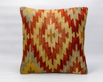 Kilim Cushion Cover, Kilim Pillow Cover 16x16 inch( 40 x 40 cm)