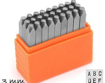 1 set letter stamp hallmark 3 mm Basic (sans serif) uppercase Impressart uppercase