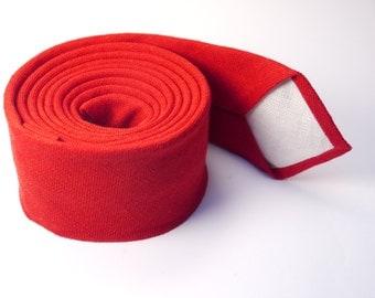 Red Necktie for Wedding / Red Necktie for Men / Groomsmen red Necktie / Linen Red Necktie / RedNecktie