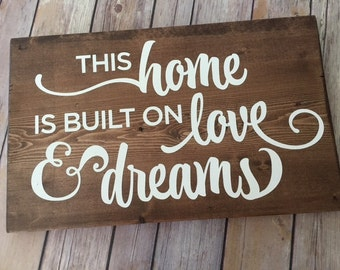 Home Wooden Sign - Home Decor - Neutral Color - Stained Wood Sign - Rustic Decor