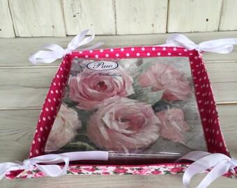 Fabric Napkin Hodler,Reversible,Napkin Holder,Handmade,Floral Fabric,Pink Roses,Pink & White Polka Dot,Napkin Storage